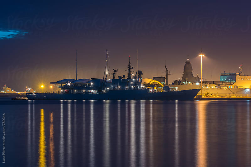 Warship at night by Luca Pierro for Stocksy United