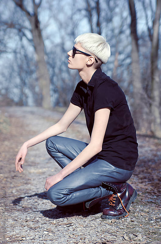 Model posing ,fashion shoot,boyish by Marija Anicic for Stocksy United