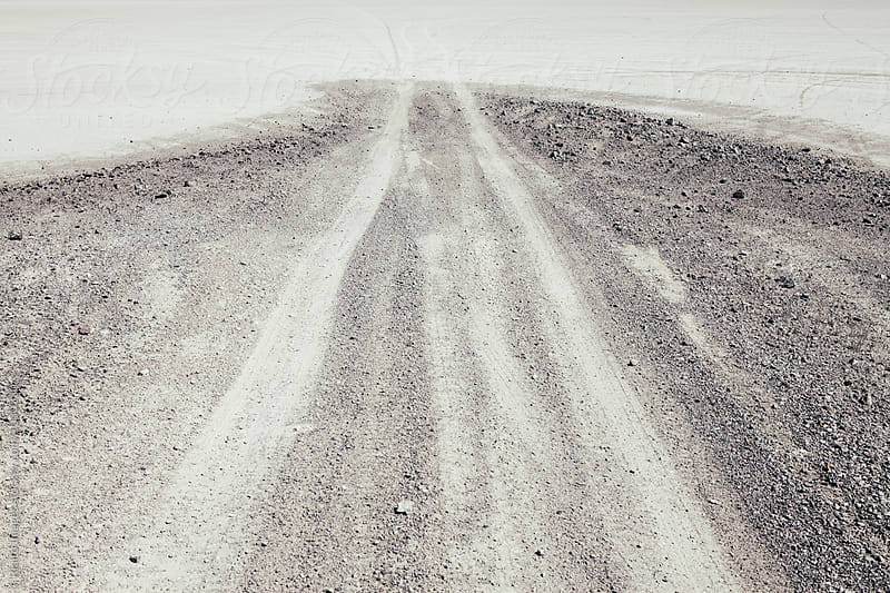 Dirt road and tire tracks extending towards horizon, Black Rock Desert, Nevada by Paul Edmondson for Stocksy United
