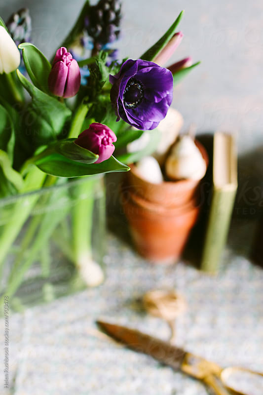 Spring flowers on a table. by Helen Rushbrook for Stocksy United