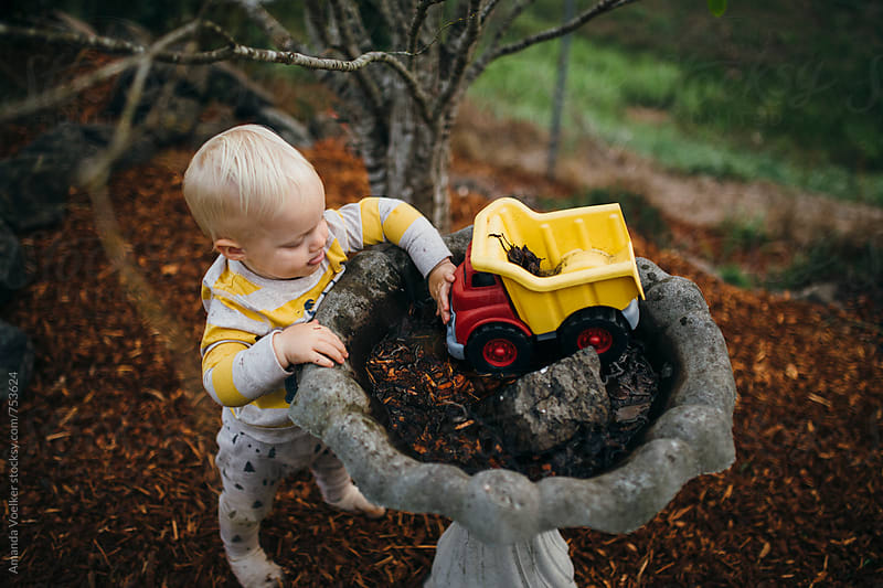 Birds Eye View Of A Toddler Boy Playing with His Truck in a Birdbath by Amanda Voelker for Stocksy United