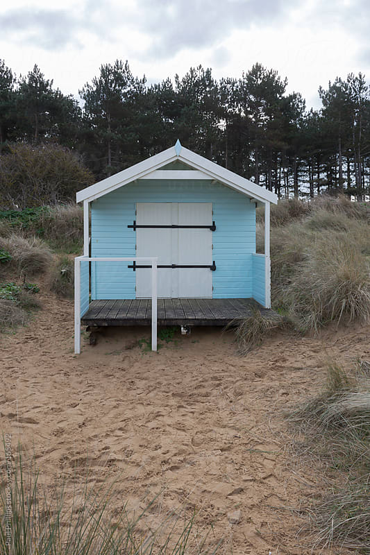 Single beach hut set in sand dunes with evergreen trees in the background by Paul Phillips for Stocksy United