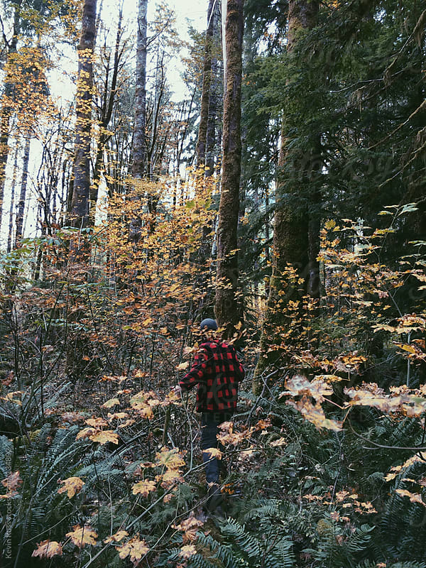 Man in Thick Fall Forest by Kevin Russ for Stocksy United
