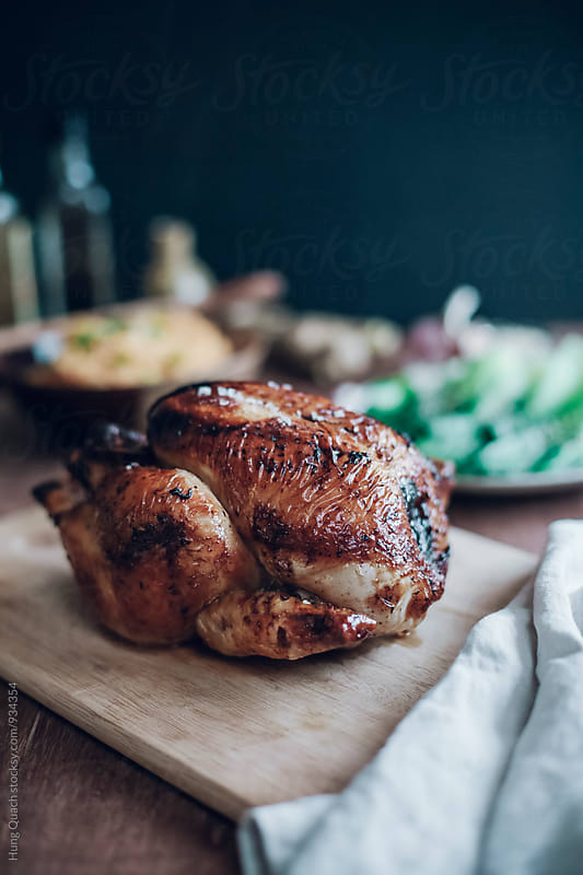 Honey Soy Roast Chicken with Bok Choy by Hung Quach for Stocksy United