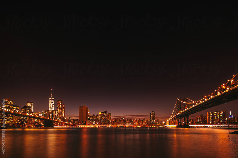 Nightscape of Manhattan Skyline by VICTOR TORRES for Stocksy United