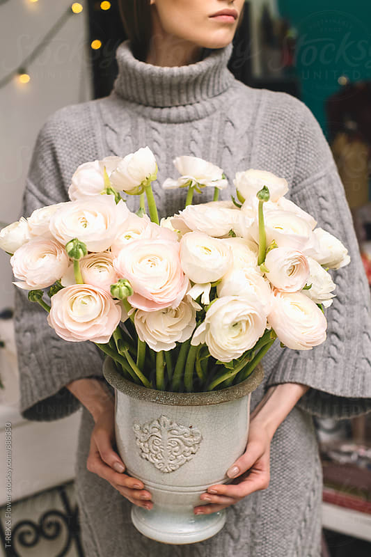 Beautiful bouquet of Ranunculus in vintage vase by T-REX & Flower for Stocksy United