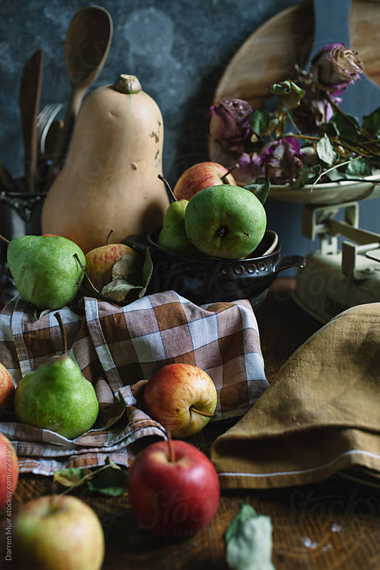 Food still life, with pears,apple and squash. by Darren Muir for Stocksy United