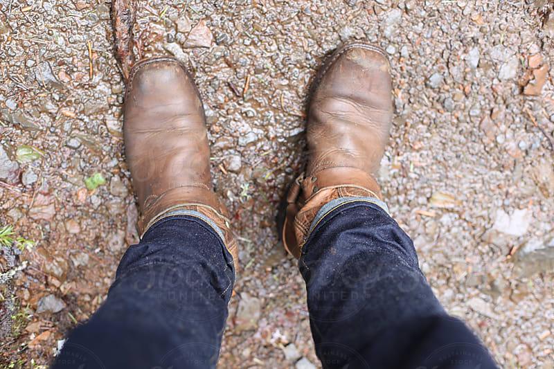 A Mans Feet Walking by Carey Haider for Stocksy United
