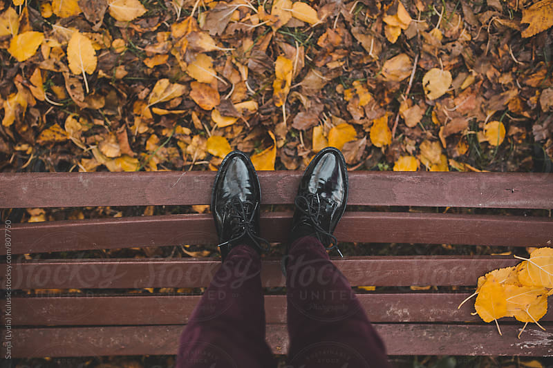 Candid shot of a pretty vintage black shoes on a floor full of fallen yellow leaves by Sanja (Lydia) Kulusic for Stocksy United
