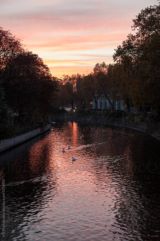 Sunset on a canal in Berlin, Germany. by W2 Photography for Stocksy United