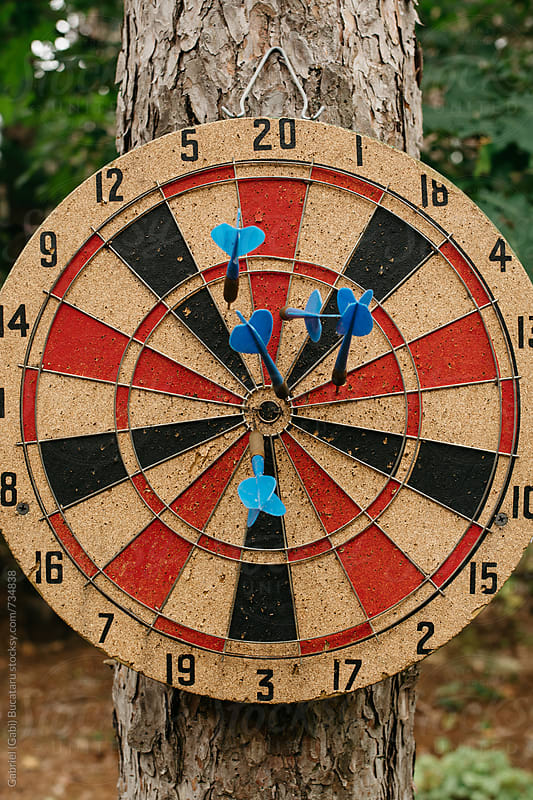 Blue darts in a dartboard attached to a pine tree by Gabriel (Gabi) Bucataru for Stocksy United