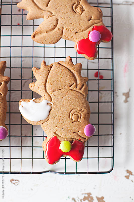close up of colouful iced reindeer gingerbread cookie for Christmas by Natalie JEFFCOTT for Stocksy United