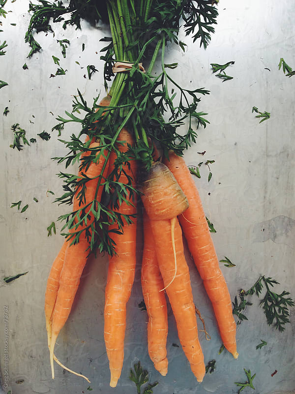 Fresh bunch of orange carrots at a vegetable market. by Greg Schmigel for Stocksy United
