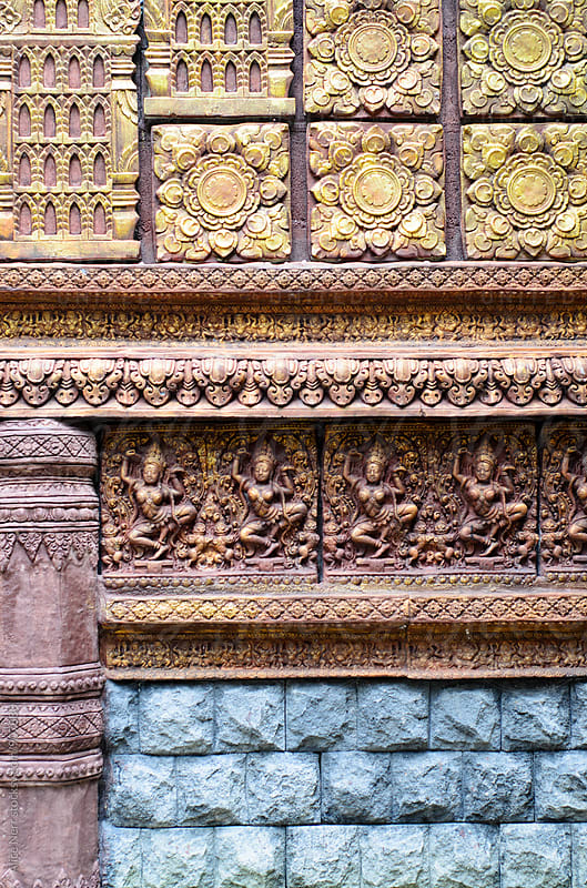 Wall in Hindu temple by Alice Nerr for Stocksy United
