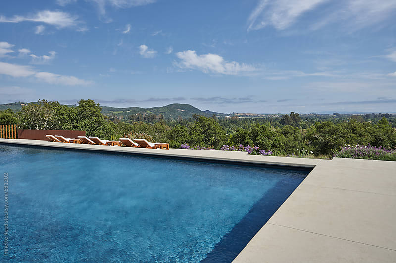 Backyard pool at luxury modern design home by Trinette Reed for Stocksy United