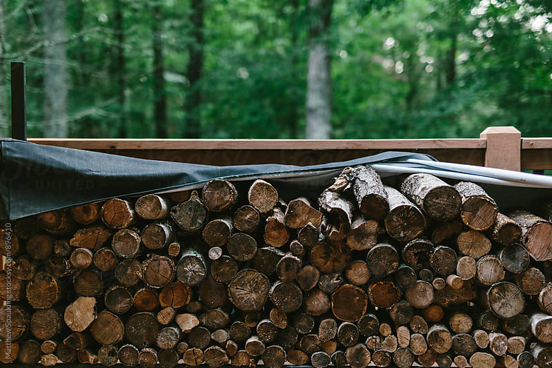 Pile of wood logs for winter fuel by Matthew Spaulding for Stocksy United