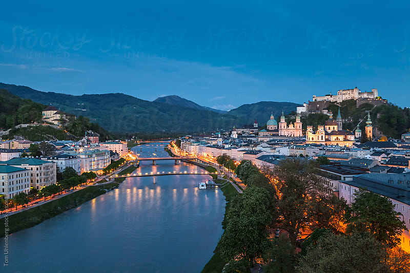 Salzburg, Austria - Evening Panorama of the City and the River Salzach by Tom Uhlenberg for Stocksy United
