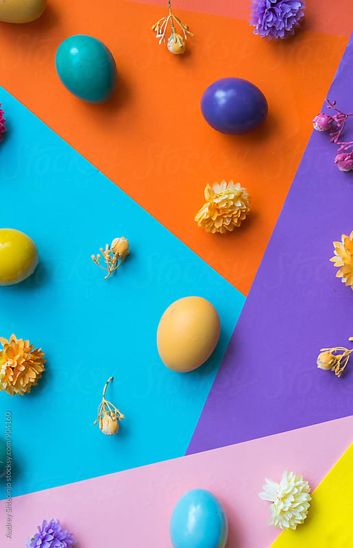 Colorful Easter eggs on colorful background. by Audrey Shtecinjo for Stocksy United