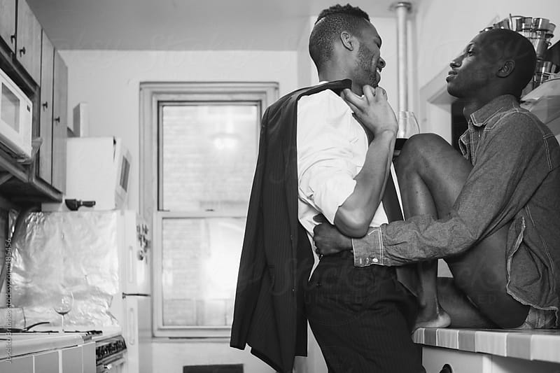 Gay Black Male Couple Lifestyle in Black and White by Joselito Briones for Stocksy United