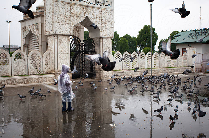 A girl standing surrounding flying pigeons  by PARTHA PAL for Stocksy United