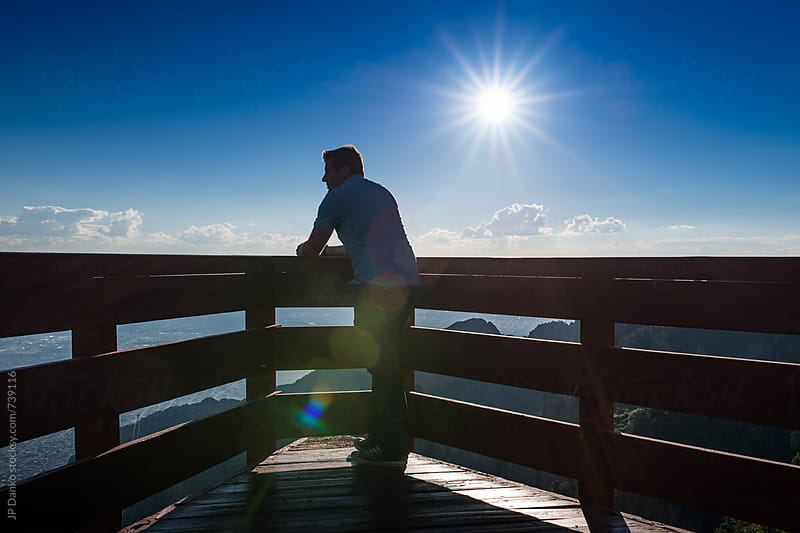 Man at Sandia Peak Tram Observation Platform in Albuquerque New Mexico Mountains by JP Danko for Stocksy United
