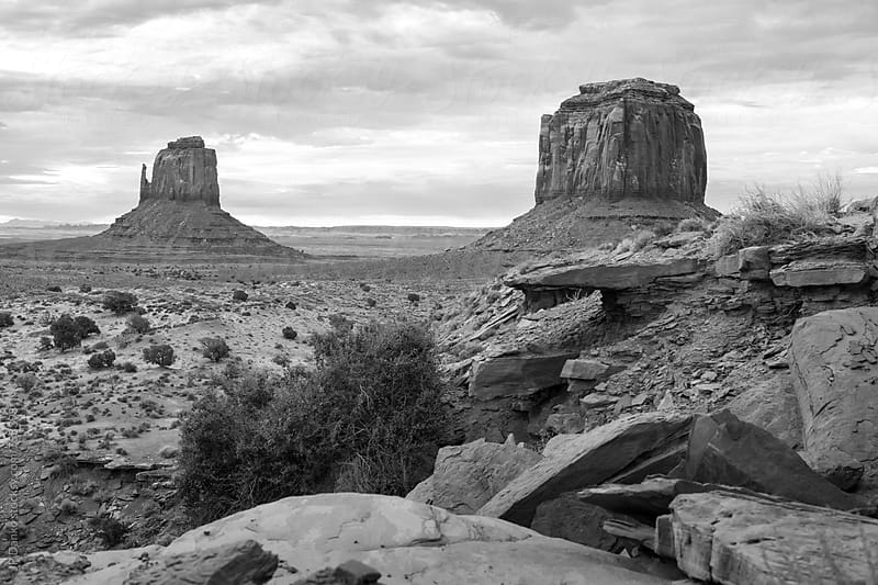 Monument Valley Butte Utah USA in Black and White Under Cloudy Dramatic Desert Sky by JP Danko for Stocksy United