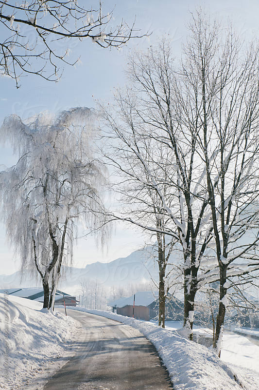 Street in winter landscape in austria by Robert Kohlhuber for Stocksy United