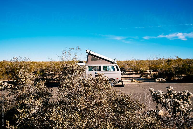 Camper van in Joshua Tree by Oscar Lopez for Stocksy United