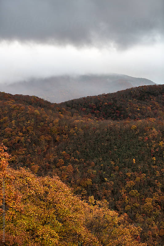 Mountains with fall foliage and clouds by Matthew Spaulding for Stocksy United