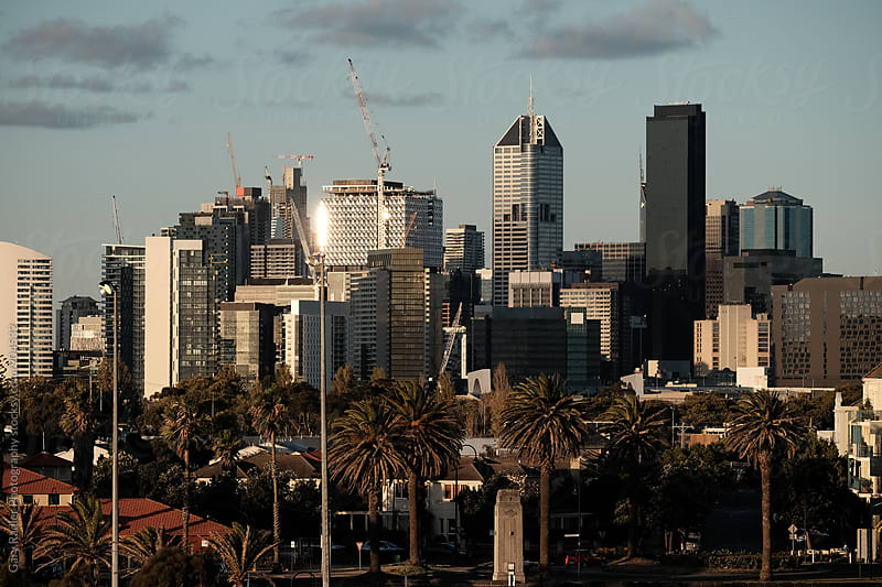 View of Melbourne from Station Pier by Gary Radler Photography for Stocksy United