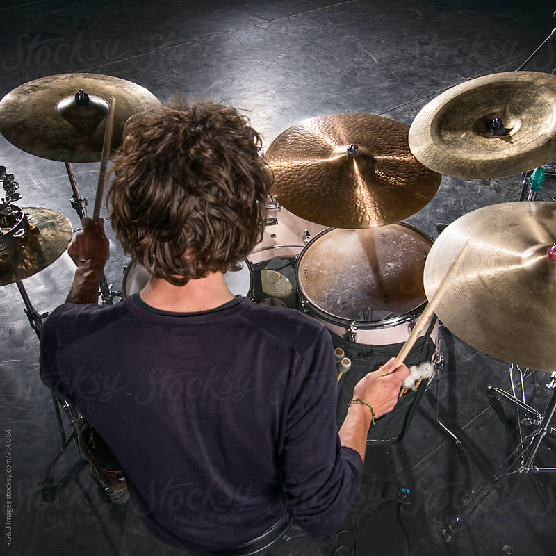 Drummer playing in the studio by RG&B Images for Stocksy United