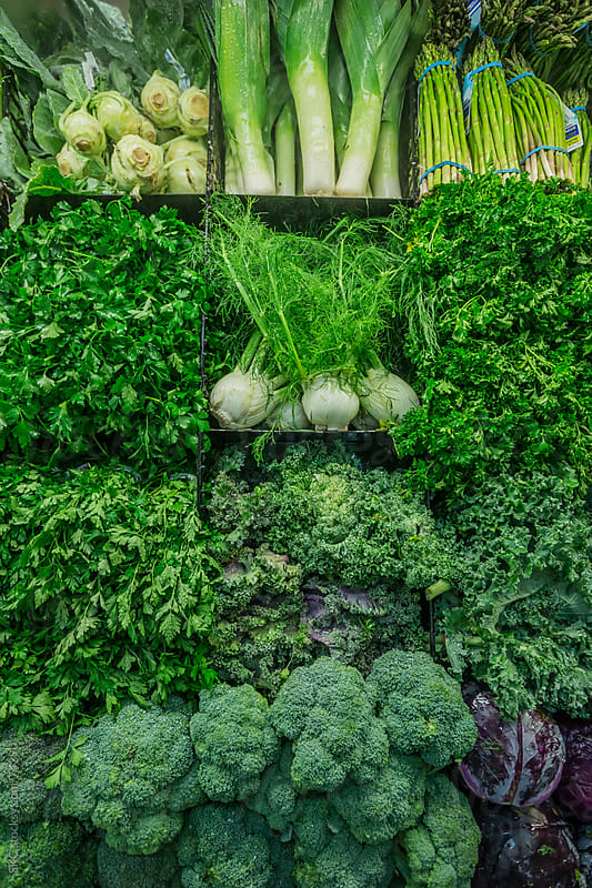 Fresh Vegetables and Produce at the Grocery Store by suzanne clements for Stocksy United