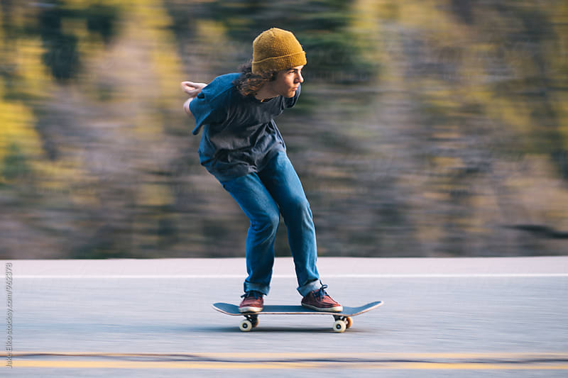 Skateboarder Panning Shot by Jake Elko for Stocksy United
