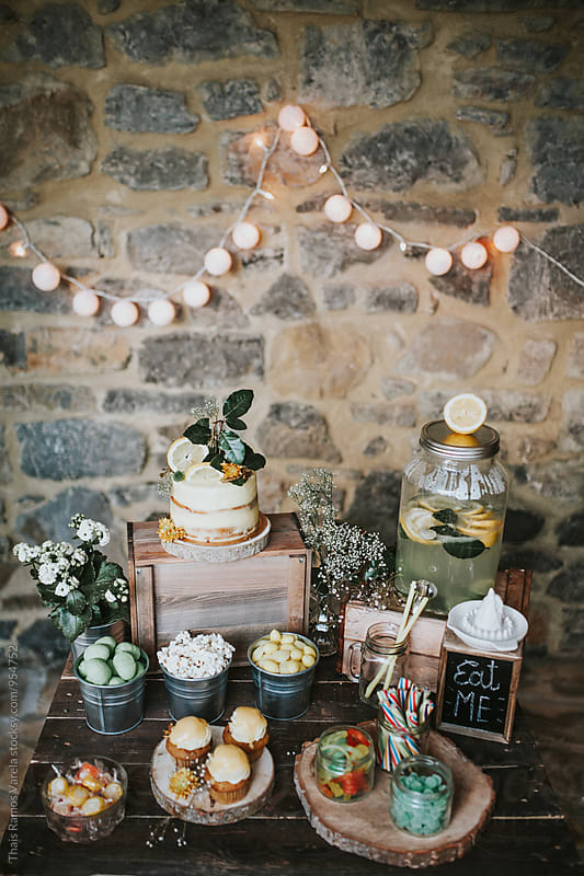 bohemian wedding candy bar by Thais Ramos Varela for Stocksy United