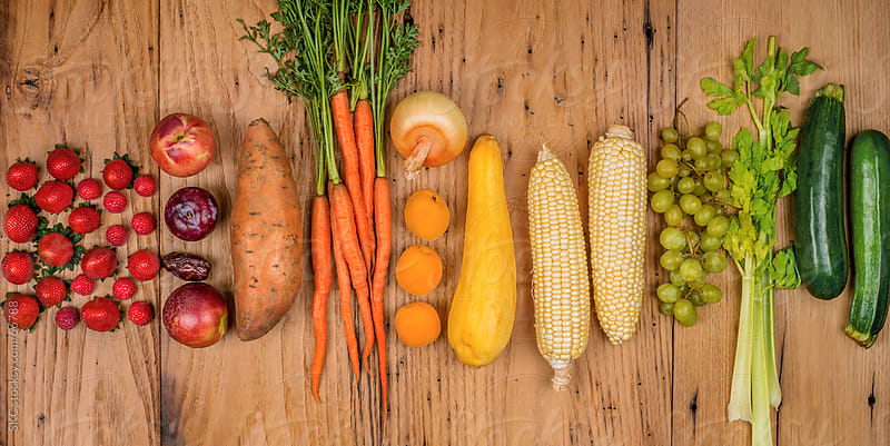A Healthy Rainbow of Fresh Organic Fruit and Vegetables by suzanne clements for Stocksy United