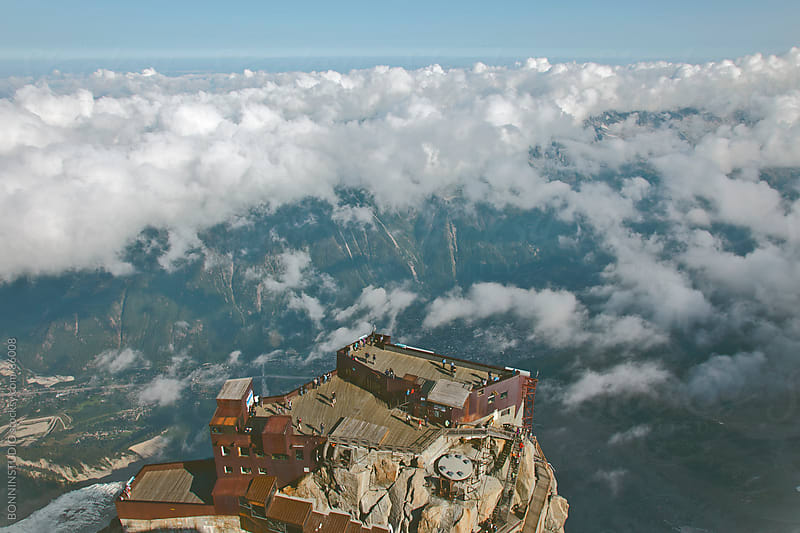 The aiguille du midi touristic viewpoint on Montblanc massif. Chamonix, France. by BONNINSTUDIO for Stocksy United