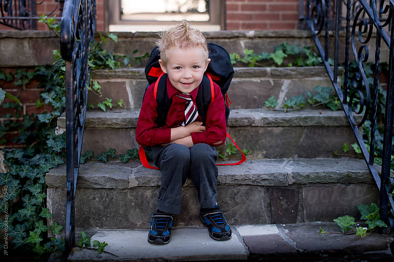 Kindergarten Primary School Boy Going Back To School First Day by JP Danko for Stocksy United