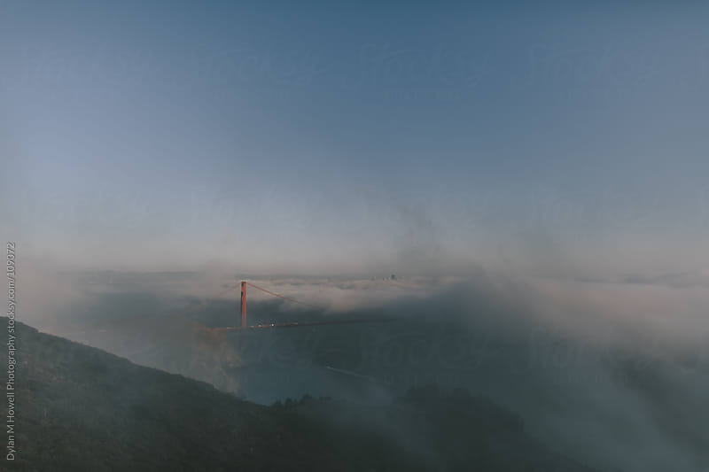 Golden Gate Bridge with fog by Dylan M Howell Photography for Stocksy United