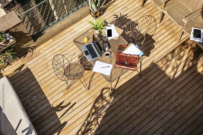 Beautiful desktop on a wooden terrace. by BONNINSTUDIO for Stocksy United