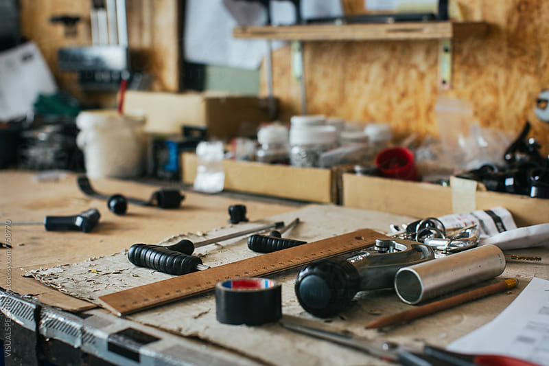 Bicyble Repair Workshop - Tools on Workbench Detail by Julien L. Balmer for Stocksy United
