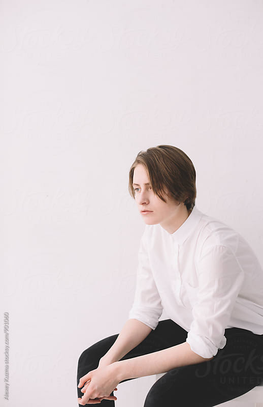 portrait of young androgyne  by Vesna for Stocksy United