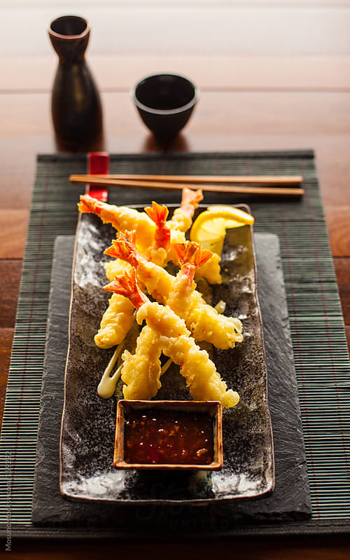 Tempura Shrimp Served on a Table by Mosuno for Stocksy United