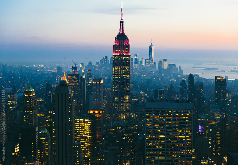 Evening New York city from Empire State by Alejandro Moreno de Carlos for Stocksy United