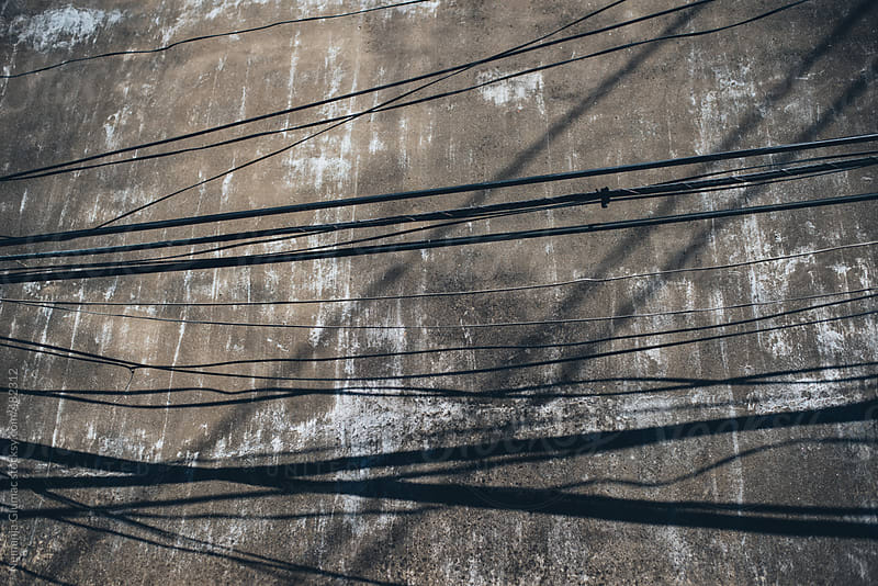 Abstract Grunge Background With Power lines and Their Shadows by Nemanja Glumac for Stocksy United