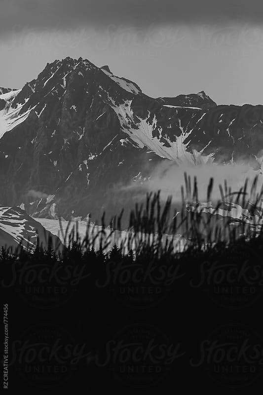 Black and white landscape image of remote backcountry in Alaska. by Robert Zaleski for Stocksy United