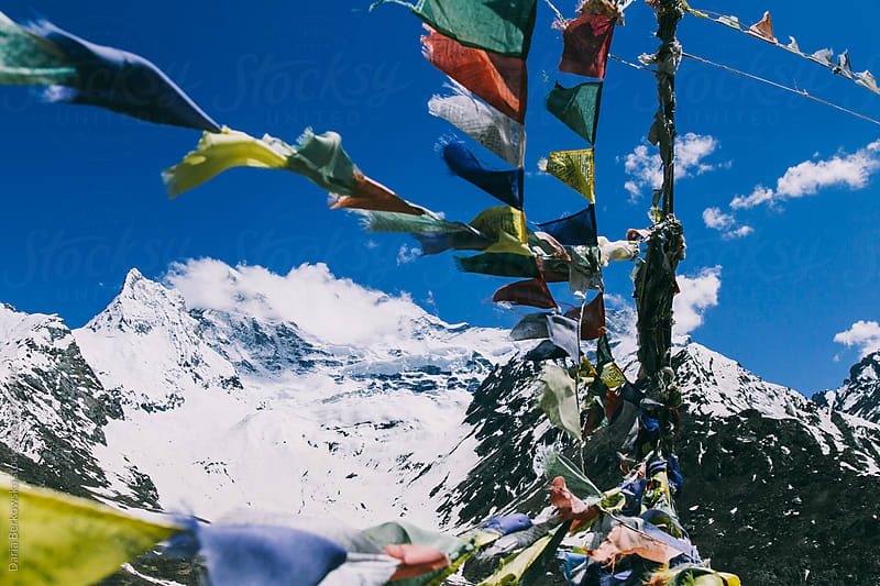 Buddhist prayer flags by Daria Berkowska for Stocksy United