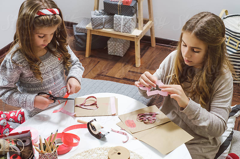 Children Making Christmas Cards by Aleksandra Jankovic for Stocksy United