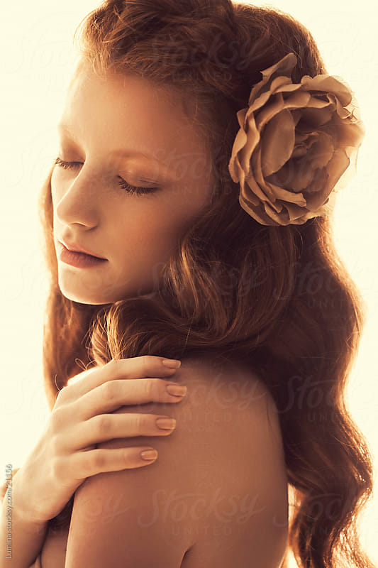 Sensual Red-Haired Woman by Lumina for Stocksy United