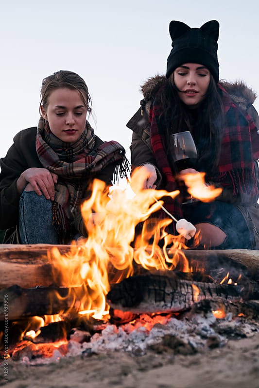 Two girls roasting marshmallow on bonfire by Danil Nevsky for Stocksy United