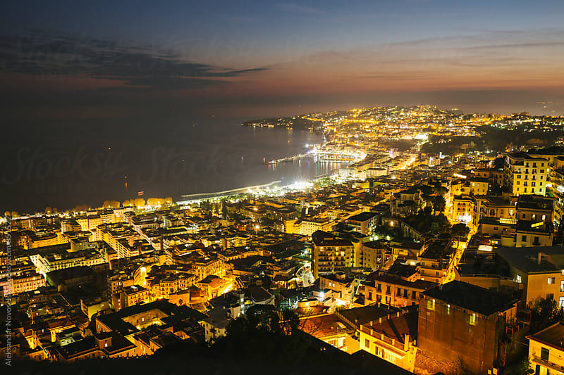 Night cityscape of Naples, Italy by Aleksandar Novoselski for Stocksy United